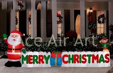Xmas inflatable sign inflatable Santa Claus with fence for yard decoration