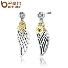 BAMOER Fashion Jewelry Silver Color Feather Wing Heart Pendant Women Drop Earrings Wholesale Brincos PA4104(China)