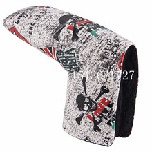 Golf UK Flag Head Putter Cover with Skull Pattern Blade Headcover Golf Club Head Cover Custom OEM Blade Style Free Shipping(China)