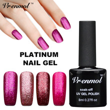 Vrenmol Platinum12 Color Paint Set LED UV Gel Shining Nail Gel Polish Permanent Long-lasting UV Fingernail Gel Vernis(China)