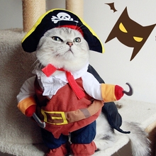 Funny Halloween pet cat dog Pirate costume cosplay clothes with dog Skull hat dog puppy party uniform suit coat jacket clothing(China)