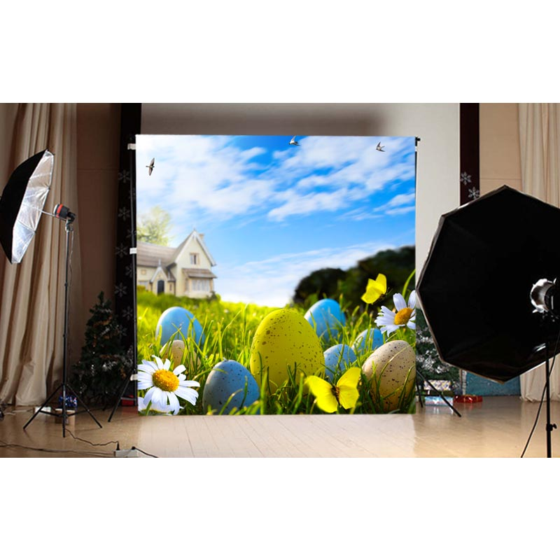 1.5X1.5M blue sky and multi-colored easter eggs and green grass printed photography backdrops for spring theme photo GE-119<br><br>Aliexpress