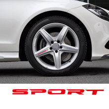 Black/White/Red 4pcs Set Sport Wheel Decal Sticker Sport Car Racing Vinyl Stickers For Mercedes Benz  Rims Wheel Logo