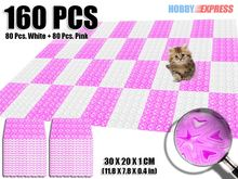 New 160 pcs 30 x 20 cm Heart Pattern Pink and White Combination Plastic Flooring Interlocking Mat  KK1130