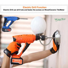 5000 10000mAh Hammer Cordless Drill Rechargeable Lithium Battery Multifunctional Electric Hammer Impact Drill(China)