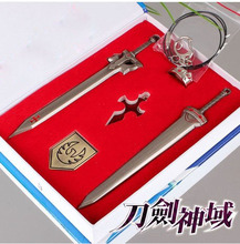 Anime Sword Art Online Kirito Swords Cosplay Weapons Metal Figure Pendants 5pcs/set