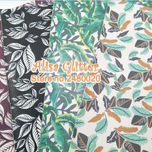 4PCS A4 SIZE 21X29CM Printed Leaves Faux Leather Fabric Soft Leather Pu leather Fabric For Bow DIY Wallpaper B01(China)