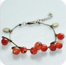 Timlee B057Wholesale,Vintage Red Glass Cherry Alloy Leaf Hand Chain Bracelet ,Fashion Jewelry