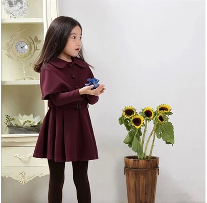 2016 Autumn Little gentlewoman Knitted Full Sleeve Solid Wind coat Cappa Clothing Clothes Dark Blue/Wine Red Dress<br>