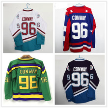 Horlohawk #96 Charlie Conway Mighty Ducks Movie Vintage Sports Wear Green Purple White Blue Ice Hockey Jerseys(China)