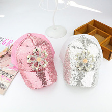 High Quality Pearl sequins baseball cap  flower baseball caps for girl summer casual adjustable cap snapbacks hats girls