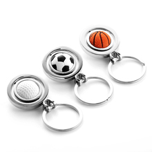 Gift personalized keychain key ring basketball golf ball football key chain engraving(China)