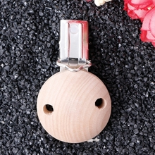 1pc Baby Round Pacifier Clips Nature Wood Soother Dummy Nipples Holder(China)