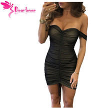 Dear Lover Off Shoulder Summer Dress Party Sexy Club Wear Black Mesh Nude Illusion Ruched Bodycon Dress Vestidos Female LC220019