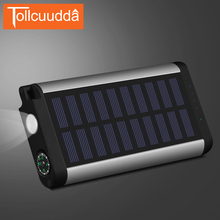 Tollcuudda LED Solar Power Bank 10000mAh Metal Case Portable Charger Poverbank External Battery For Iphone5 6s All Mobile Phones