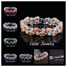 CWWZircons Classic My Mona Lisa Zirconia Jewelry White Gold Color Red Black Purple Big CZ Luxury Bracelet For Women CB125