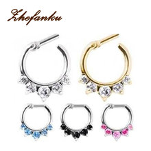 1 piece 2016 Surgical Steel Titanium 5 Crystal Nose Ring septum Clicker Tragus rings Piercing Body Jewelry Nose Hanger(China)