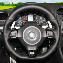 Hand-stitched Black Leather Car Steering Wheel Cover for Volkswagen Golf 6 GTI MK6 VW Polo GTI Scirocco R Passat CC R-Line 2010(China)