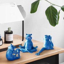 Modern Creative Household Adornment Frog Prince artware Indoor Home yoga frog six pieces set Combination Resin cubic sculpture(China)