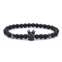 2017 New Brand Trendy Imperial Crown Charm Bracelets Men Natural Stone Stone Beads For Women Men Jewelry pulsera hombres(China)