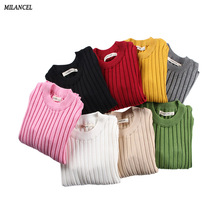 2018 Girls Sweaters Solid Candy Color Boys Sweaters Autumn New Knitted Baby Girls Ribbed Sweater Kids Clothing Girls Pullover(China)