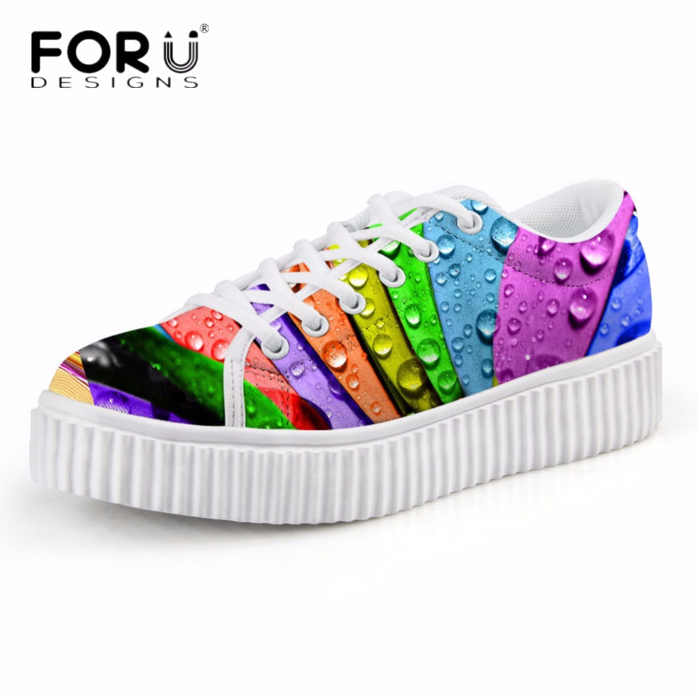 FORUDESIGNS Fashion Women Casual Flats Platform Shoes 3D Colorful Leaf Pattern Womens Autumn Low Style Shoes Height Increasing<br>