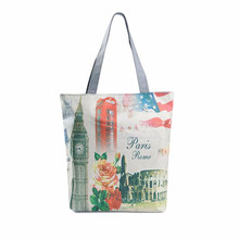 Fashion London Big Ben Canvas Tote Casual Beach Bags Women Shopping Bag Handbags shoulder bags