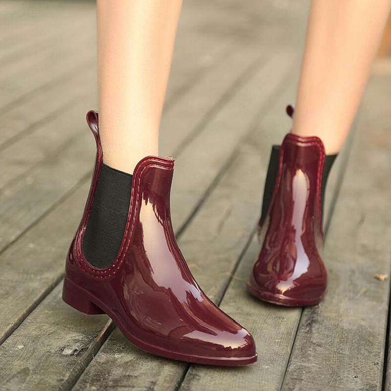 2017 New Women Rubber Rain Boots Ankle Jelly Shoes Waterproof Botas Elastic Band Chelsea Rain Shoes Wine Red Black<br><br>Aliexpress