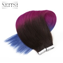 "Neitsi Straight Brazilian Skin Weft Human Hair Remy Tape In Hair Extensions 20"" 2.5g/s 50g/pack 6 Colors"