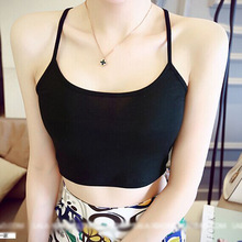 2017 Summer Women Tops Korean Fashion Solid Color Pure Cotton Sexy Slim Y Type Tank Top Plus Size Black White Gray Crop Tops(China)