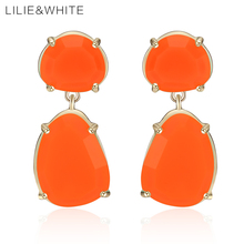 LILIE&WHITE Fashion Geometric Faceted Neon Color Resin Dangle Earrings Gold Color Drop Earrings For Women Jewelry Girl Gift HL(China)