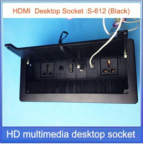 HD HDMI Tabletop Socket Hidden USB Network RJ Information Outlet - Conference room table electrical outlets