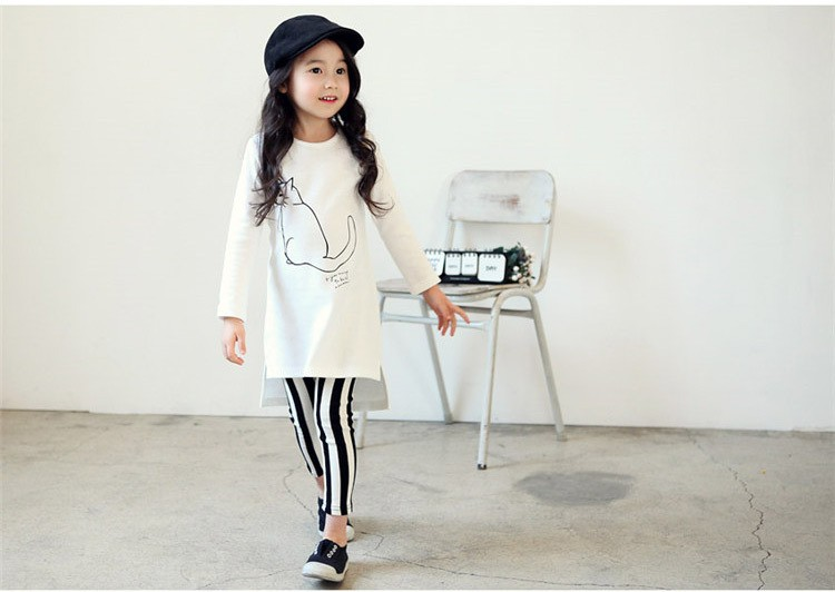 Girls Clothes Set Kid Spring Clothing Sets Cat White Shirt Striped Long Pants Children Clothing Suit Girl Set Kids Clothes