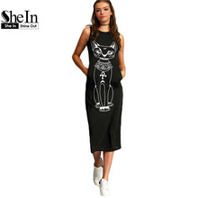 SheIn Long Summer Dresses 2016 Fashion Women Clothing Casual Black Sleeveless Round Neck Cat Print Slim Mid-Calf Dress