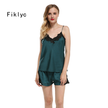 Fiklyc brand sexy women's lingerie set with lace satin nightwear set european luxury pajamas sets home wear NEW pijamas women