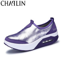 Height Increasing Women Casual Shoes Wedges Shine Leather Comfortable Walking Shoe Female Daily Sneakers for Shopping 7665