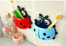 bathroom accessories prateleira yellow ladybug toothbrush holder toothpaste storage box vanity shop online(China)