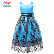 Belababy Girl Dress 2017 Princess Fashion Style Embroidered Party Dress Kids Clothes Children Princess Flower Dresses For Girls