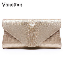 Fashion Cattle Leather Evening Clutches Bag Mobile Phone Coin Wallet Crocodile Pattern Shoulder Bags Ladies Envelope Package