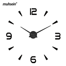 2017 muhsein Wall Clock Modern Home Decor Big Mirror 3D DIY clock Large Decorative Wall sticker Unique Gift(China)