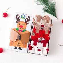 2017 3pairs/box autumn winter new cartoon Christmas gift red socks Cotton Meias Warm Cute 3d Patterns Socks Women Stretch(China)