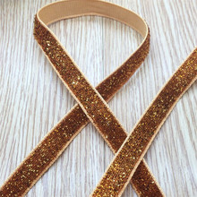 Free shipping 3/8'' (10mm) 10 yards Gold Color single face Glitter velvet ribbon/Metallic Velvet Ribbon (no elastic)