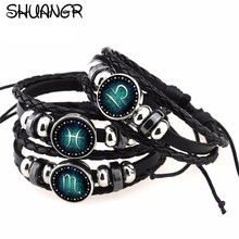Buy SHUANGR 12 Constellations Bracelet 2017 New Fashion Jewelry Leather Bracelet Men Casual Personality Zodiac Signs Punk Bracelet for $1.04 in AliExpress store