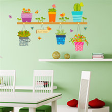 Creative Flowers Pot Rack Wall Stickers Sitting Room Decoration Plant Mural Art Diy Home Decals Posters Peel and Stick