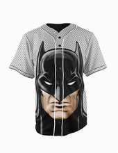 Real American Size batman 3D Sublimation Print Custom made Button up baseball jersey plus size