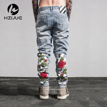 Hole Metrosexual Straight Destroyed Jeans Brand Casual Slim Ripped Jeans Roses print Men's Trousers Denim High Quality Cotton