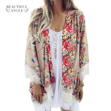 2018 Fashion Floral Chiffon Kimono Women Cardigan Elegant Lace Women Flower Print Chiffon Blouse Shirt Women Loose Kimono jacket(China)