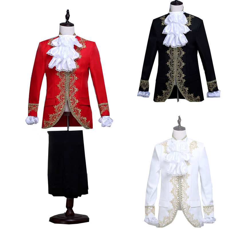 Royal Victoria Military King Prince Wedding Costume For Adult Men Festival Jacket Tied Lace Top Pants Blazer Coat Suit Halloween