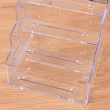 Best Promotion Four Pockets Clear Desktop Office Counter Acrylic Business Card Holder Stand Display Fit For Office School(China)