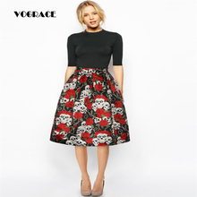 VOGRACE Christmas Style 3d New Fashion Women's Vintage Retro Skirt High Waist Print Skirt Printing Rose Flower Evil Casual Skirt(China)